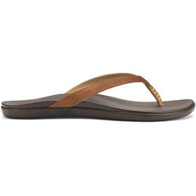 OluKai W's Hoopio Leather Sandals Sahara/Dark Java